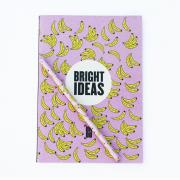 Kit Caderno + Lápis Banana Rosa