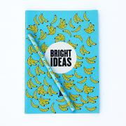 Kit Caderno + Lápis Banana Azul